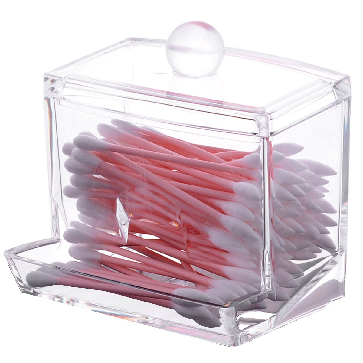 Sooyee Acrylic Cosmetic Q-tip Cotton Swabs Balls Buds Holder Makeup Storage Case Dispenser Organizer,Clear,pack of 1