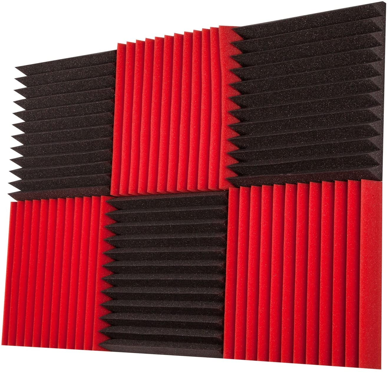 Foamily 6 Pack- Red/Charcoal Acoustic Panels Studio Foam Wedges 2 X 12 X 12
