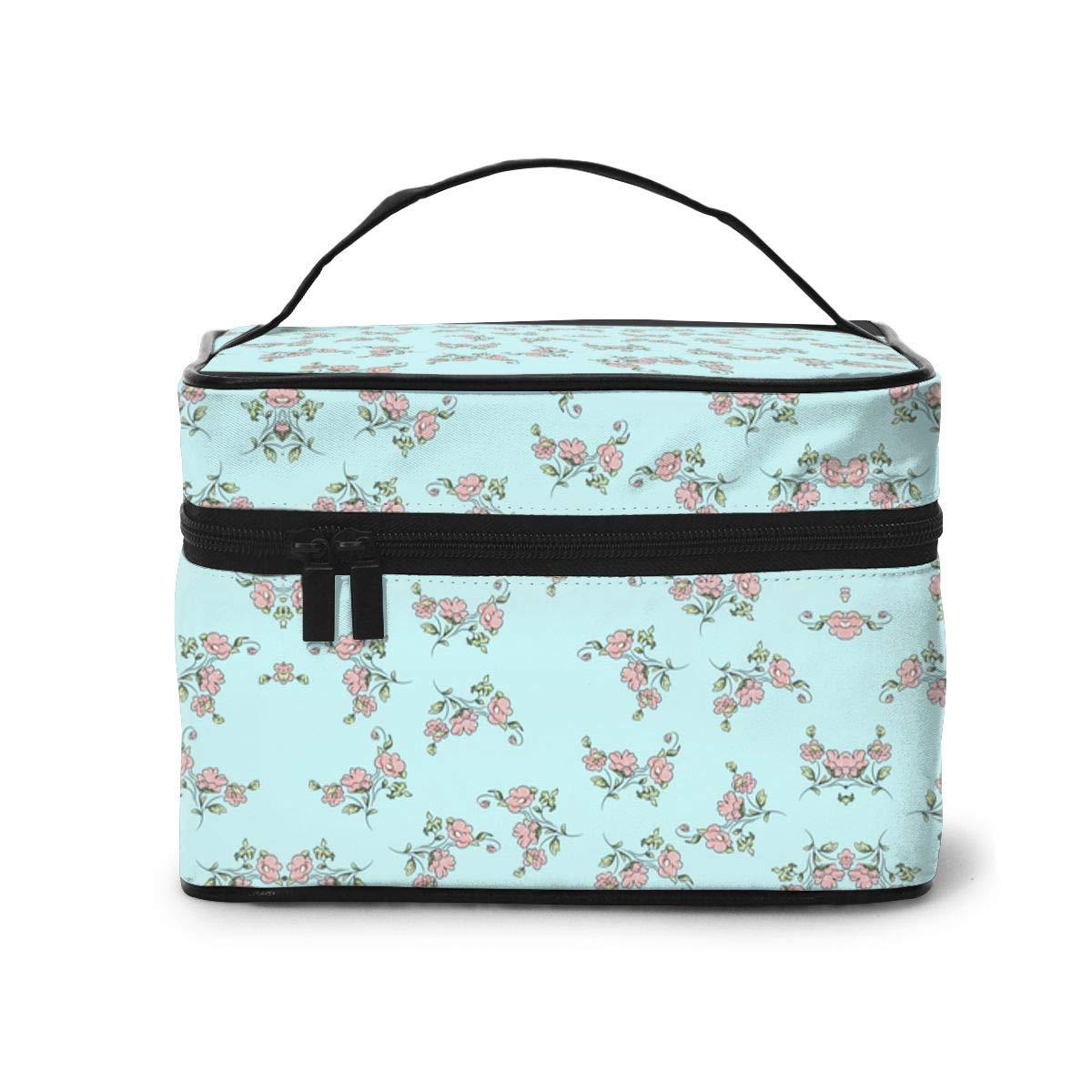Tengyiyi Elegant Pink Floral Makeup Bag Travel Toiletry BOX Portable Organizer Storage Cosmetic Train Case For Women Girls