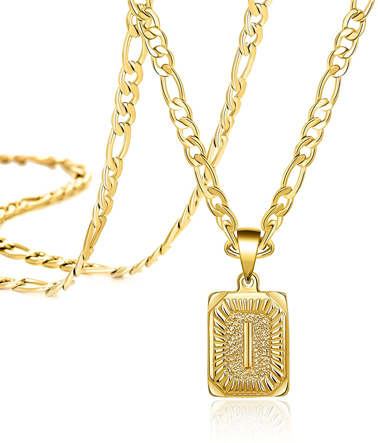 Joycuff 18K Gold Initial Necklaces for Women Men Teen Girls Best Friend Fashion Trendy Figaro Chain Square Letters Stainless Steel Pendant Necklace Personalized 26 Alphabets Length 18 20 22 24 Inches