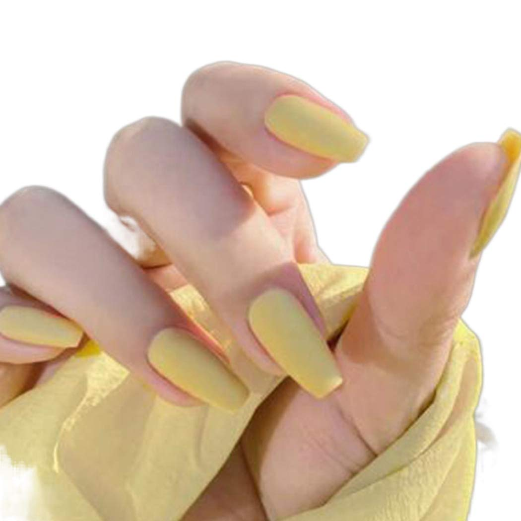 Eappy Matte Coffin Press on Nails Yellow Long Fake Nail Tips Full Cover Ballerina Arcylic False Nails Art Accessorise for Women and Girls 24PCS