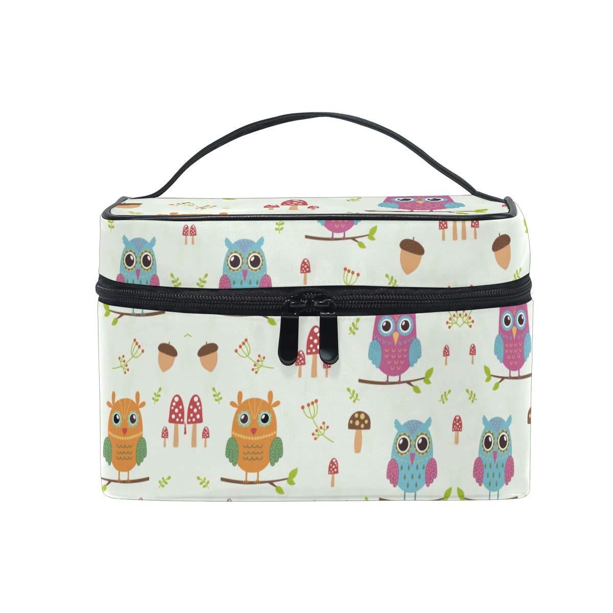 Daisy Owl Birds Cosmetic Bag Organizer Zipper Makeup Bags Pouch Toiletry Case for Girl Women