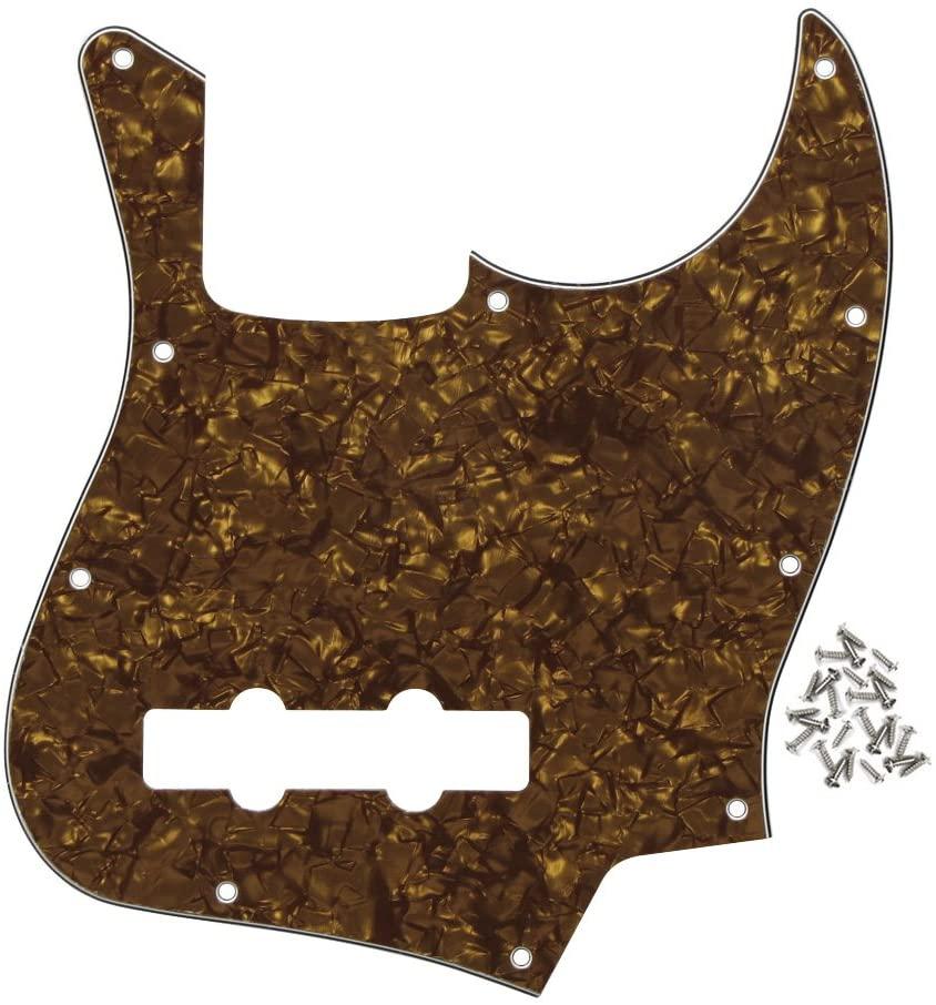 FLEOR J Bass Pickguard Jazz Bass Pickguard Scratch Plate for 4 Strings American/Mexican Standard Jazz Bass Part, 4Ply Brown Pearl