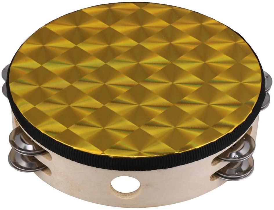 BQLZR Golden 8 Inch Handheld Tambourine Hand Drum Bell with Metal Jingles for Church