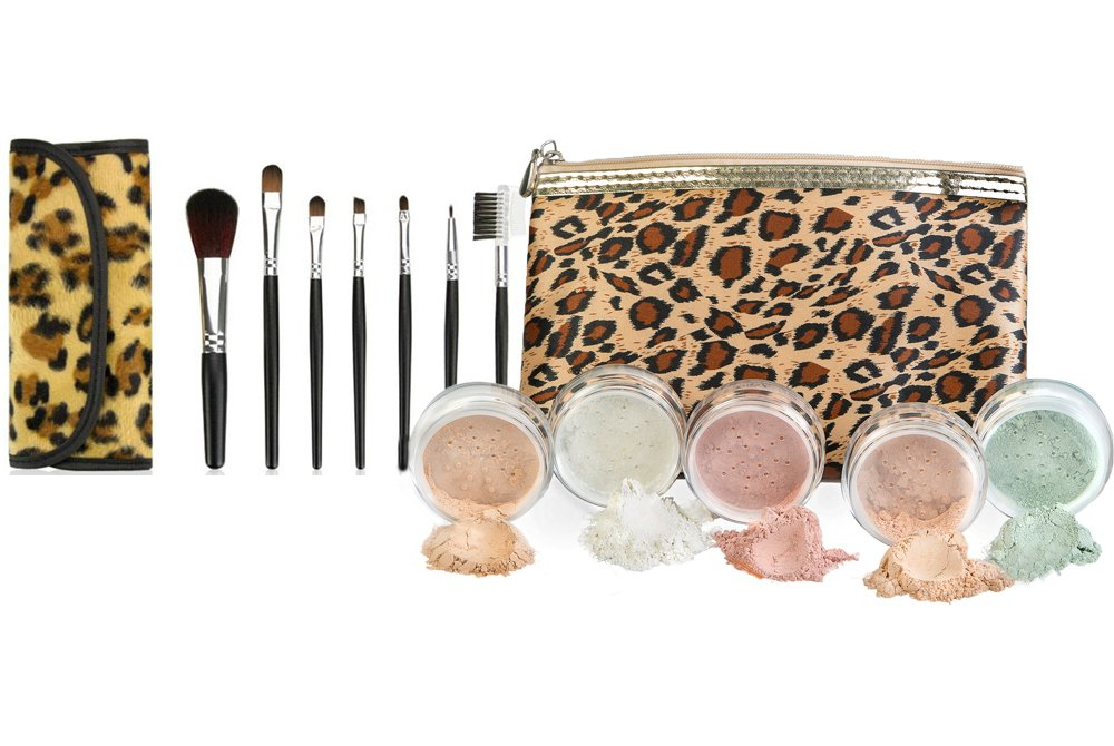 LEOPARD KIT w/BRUSH & BAG (EBONY) Mineral Makeup Set Bare Face Sheer Powder Matte Foundation Cover