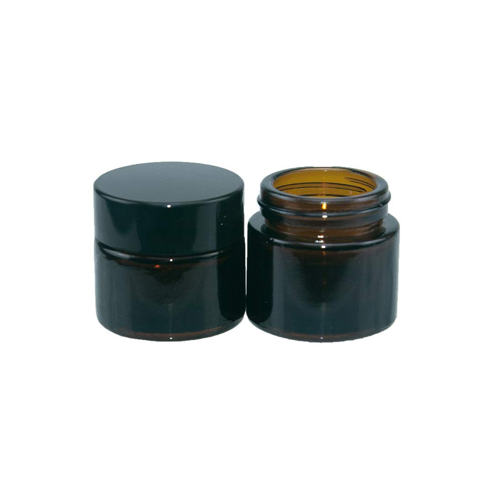 10 pcs Amber Round Glass Jars with Inner Liners and Black Lids for Storing Cosmetics Such as Eye Shadow, Eye Cream, Lotion, Powder, Empty Cosmetic Containers,0.34 oz