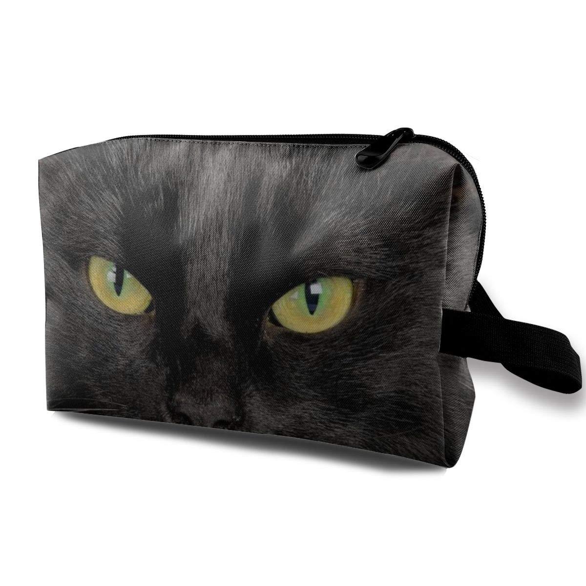 Cosmetic Bag Zipper Storage Bag Portable Ladies Travel Square Makeup Brushes Bag Cool Black Cat Print