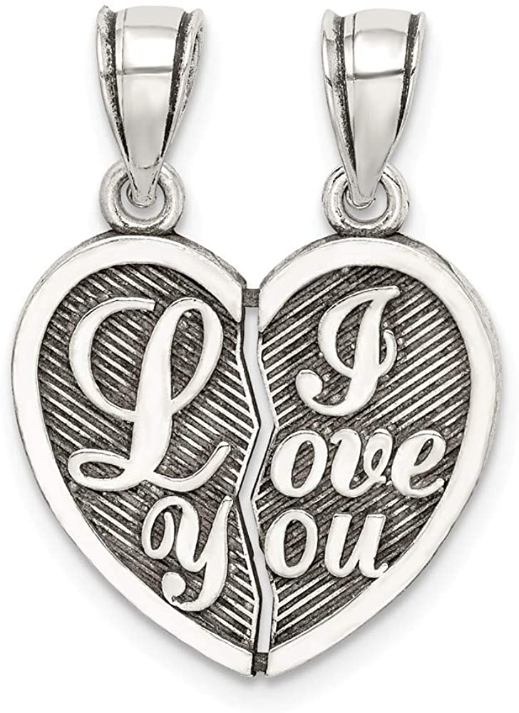 925 Sterling Silver Mini I Love You Break Apart Heart Pendant Charm Necklace Break?apart Fine Jewelry For Women Gifts For Her