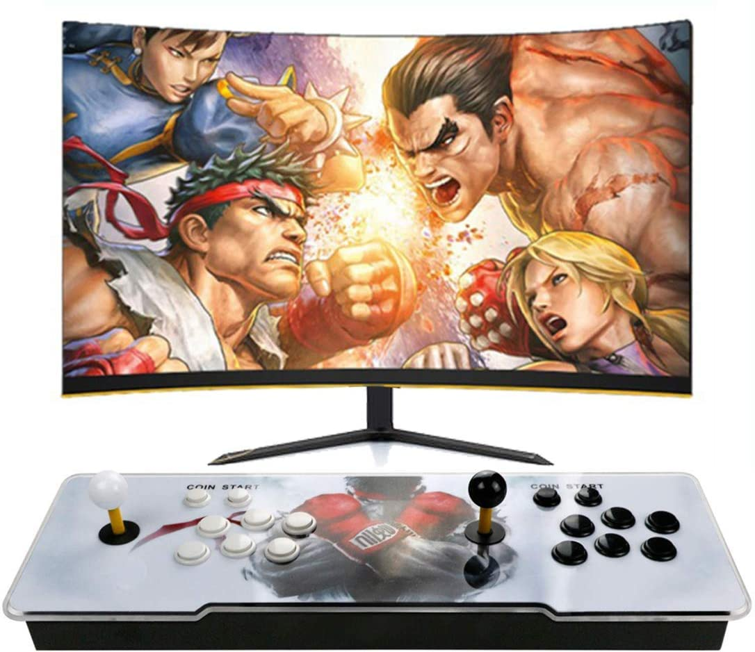 FLYWYL Arcade Video Game Console - Pandora 11 3001 in 1 Retro Video Games Colorful LED Double Stick Arcade Console, HDMI VGA USB Newest System Arcade Machine, Built-in Speaker ,English (A)