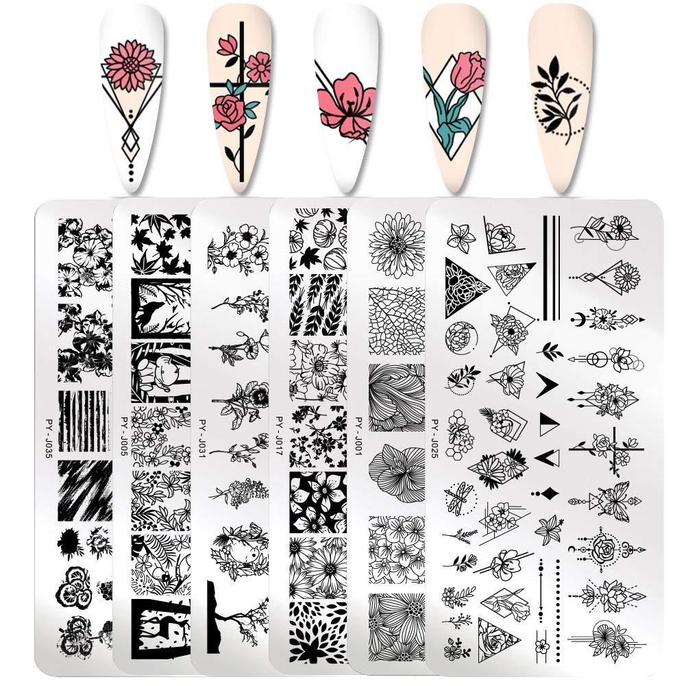 PICT YOU Nail Art Stamping Plates Geometric and flowers Theme Image Plates DIY Nail Art Set 6Pcs