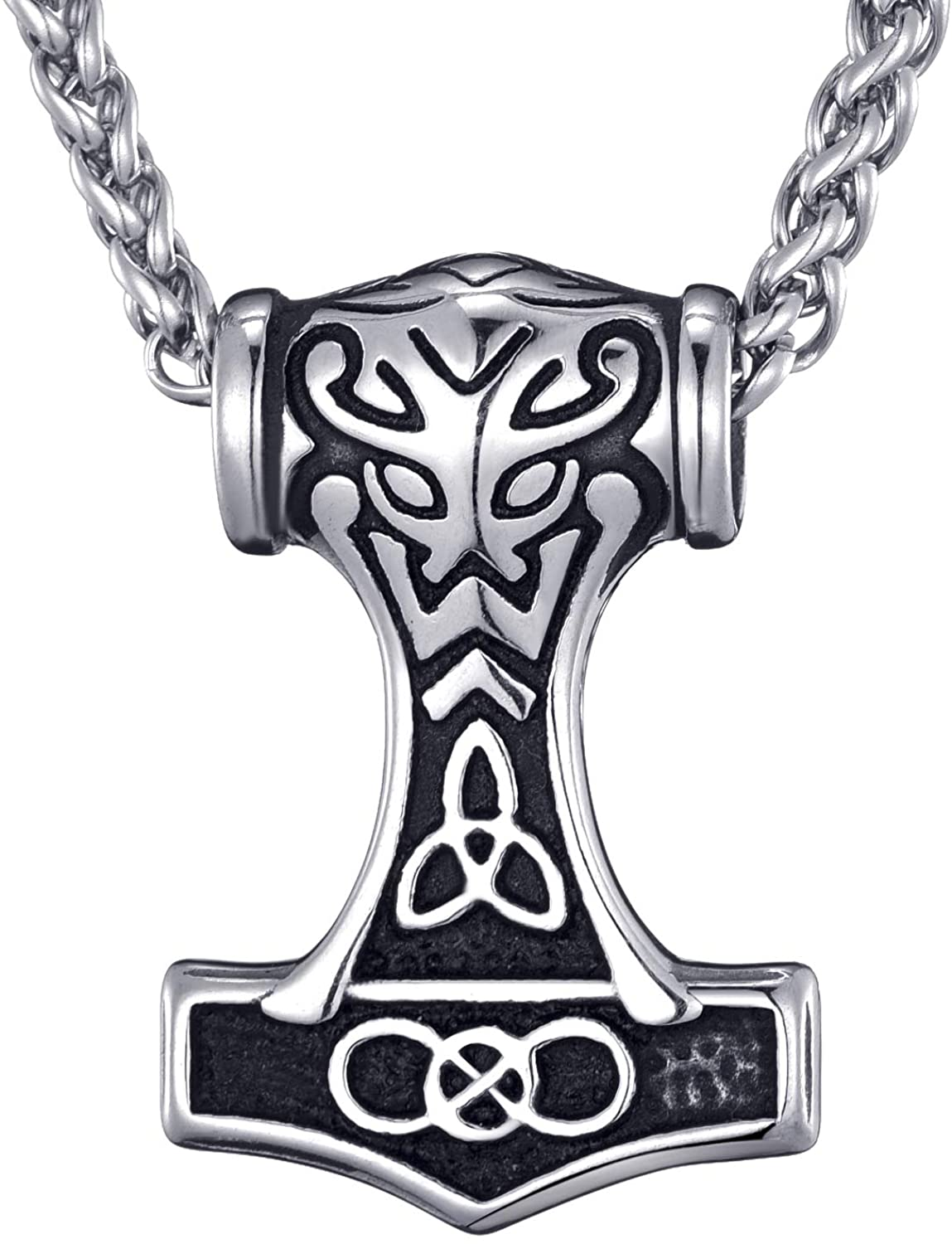 MOO&LEE Men's Stainless Steel Viking Thor's Hammer Celtic Knot Pendant Necklace Norse Solid Mjolnir with 24 Inches Link Chain