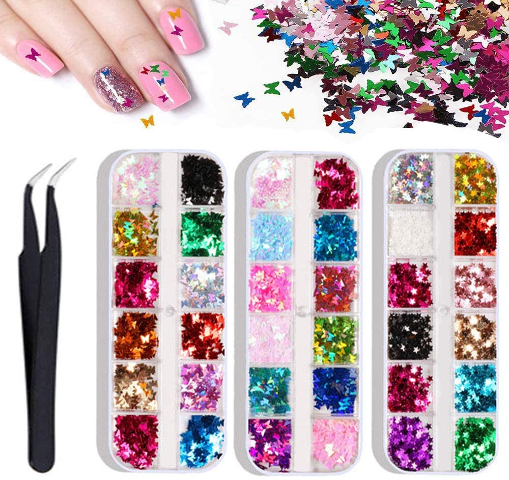 3 Boxes Butterfly Leaf Nail Glitter Sequins, 3D Laser Nail Art Flakes, Colorful Confetti Sticker Manicure Nail Art Supplies Make Up DIY Decals Decoration