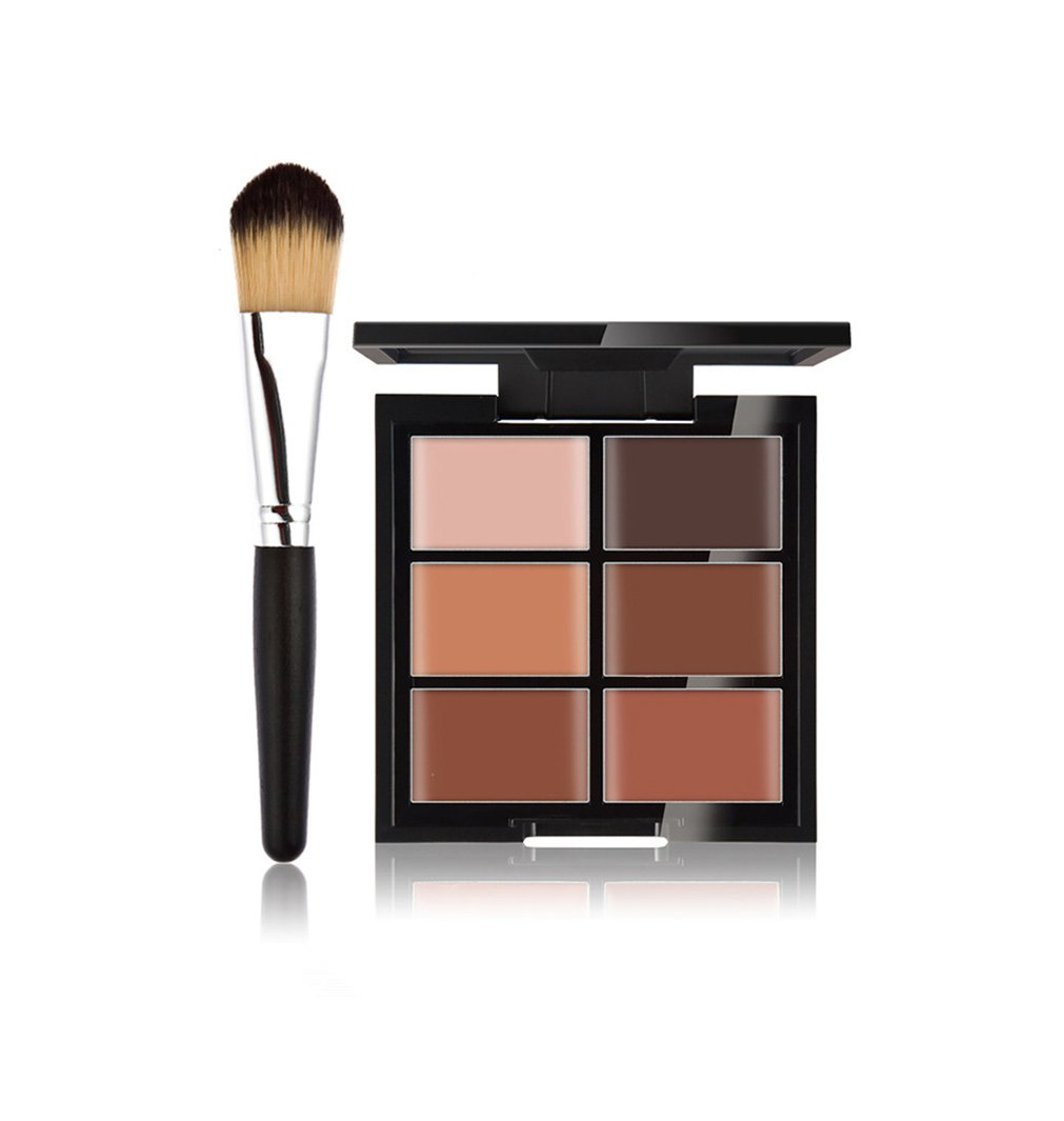Pure Vie 6 Colors Cosmetics Cream Contour and Highlighting Makeup Kit, Color Correcting Cream Concealer Palette #12 + 1 Pcs Synthetic Foundation Powder Concealer Eye Shadows Makeup Brush
