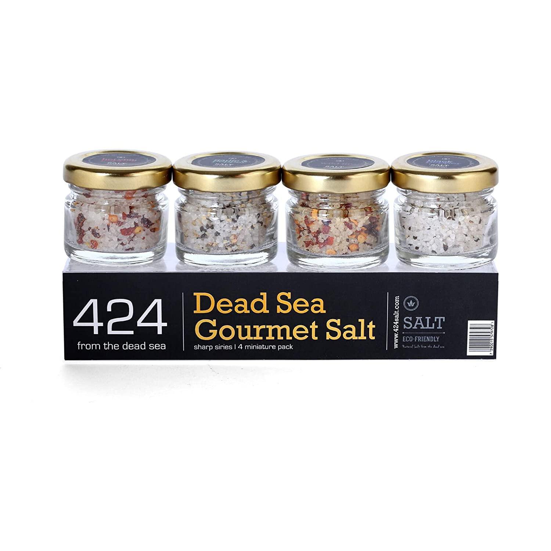 424's Natural Organic Dead Sea Salt - Sharp Series Gift Set - 4 Pack of Gourmet Flavored Sea Salts - Black Pepper - Hot Chili - Wildfire - Garlic With Black Pepper - Kosher - Vegan - 4 x 0.88 oz.