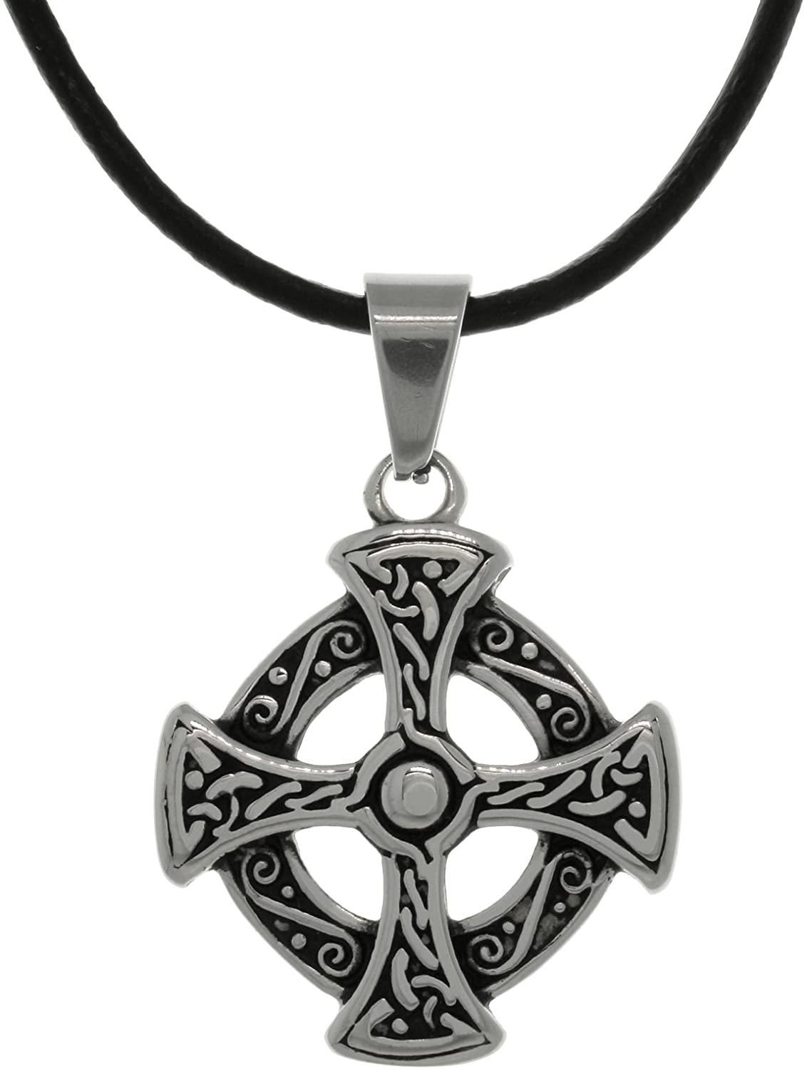 Jewelry Trends Stainless Steel Celtic Solar Cross Pendant Necklace 18