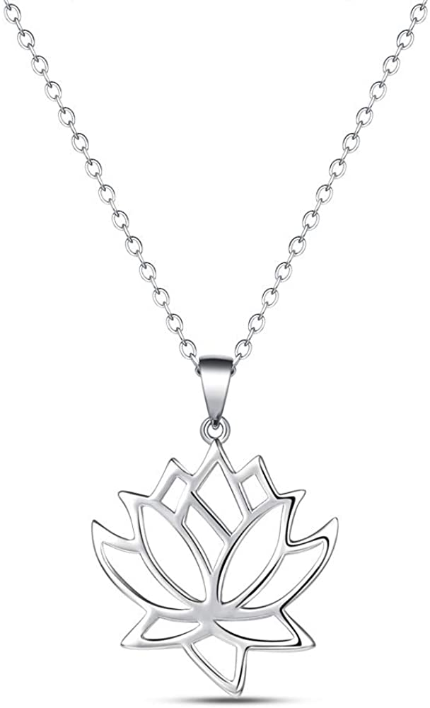 HN Lotus Flower Necklace Sterling Silver Pendant Jewelry for Women Girls