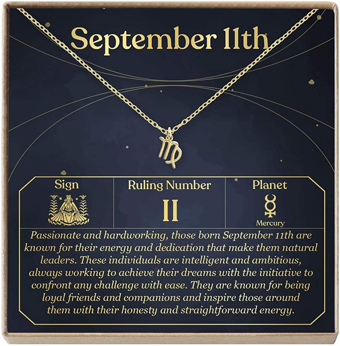 September 11th Necklace Present for Birthday, Celebration, Gift for Her (Virgo)