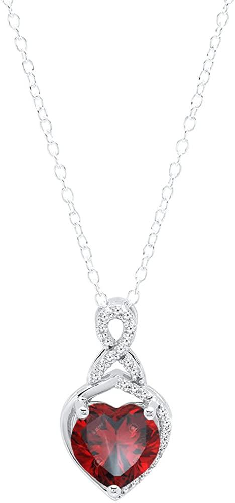 Dazzlingrock Collection 14K 8 MM Heart Shaped Gemstone & Round White Diamond Ladies Heart Pendant, White Gold