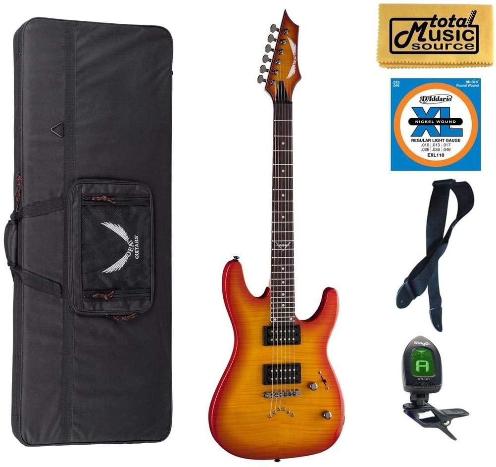 Dean C350 TAB Custom 350 Electric Guitar, Trans Amberburst LL Case Bundle