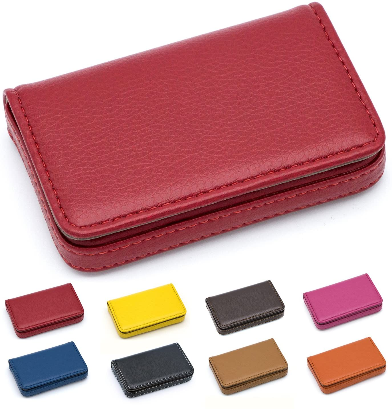 Padike Business Name Card Holder Luxury PU Leather,Business Name Card Holder Wallet Credit Card ID Case/Holder for Men & Women - Keep Your Business Cards Clean(Red)