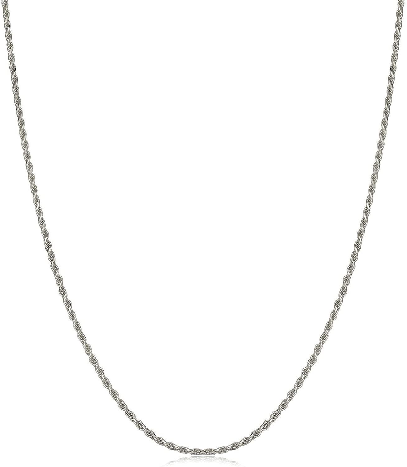 14K White Gold 1mm - 4mm Solid Rope Diamond Cut Chain, FREE Microfiber Cloth, Link Necklace, Giorgio Bergamo