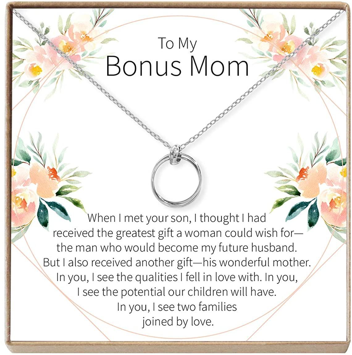 Dear Ava Bonus Mom Necklace - Gift Set for Step Mom, Other Mother, Unbiological Mom