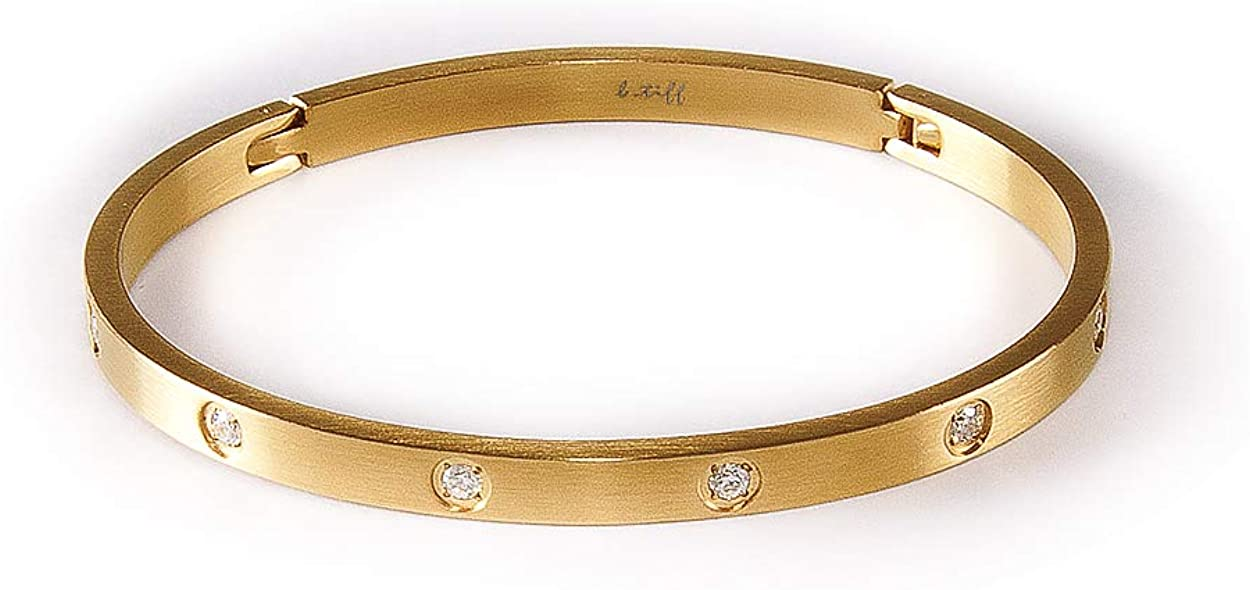 B.Tiff Rose/Yellow Gold Plated Stainless Steel 8-Stone Simulated Diamond Bangle Cuff Love Bracelet Fashion Jewelry for Women Men Unisex
