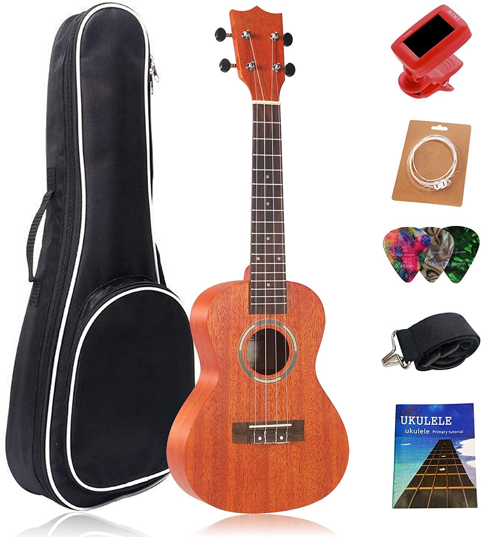 Concert Ukulele,Learn To Play Ukulele Starter Starter Pack Small Hawaiian Guitar,23 Inch Professional African Mahogany Wood Ukulele for Beginners,With Gig Bag,Strap,1 Set Nylon String,Tuner,3 Picks