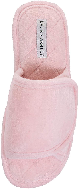 Laura Ashley Ladies Spa Velour Terry Wrap W/Memory Foam Slippers