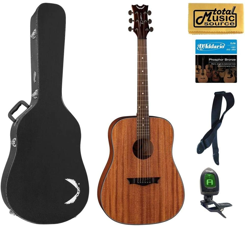 Dean Guitars Axs Series Dreadnought Acoustic Guitar, Mahogany Finish, AX D MAH HSBKPACKBlack Case Bundle