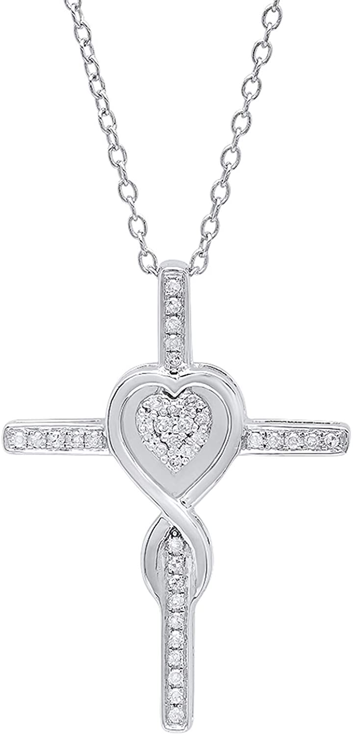 Dazzlingrock Collection 0.20 Carat (ctw) 10K Gold Round Diamond Cross & Heart Pendant 1/5 CT (Silver Chain Included)