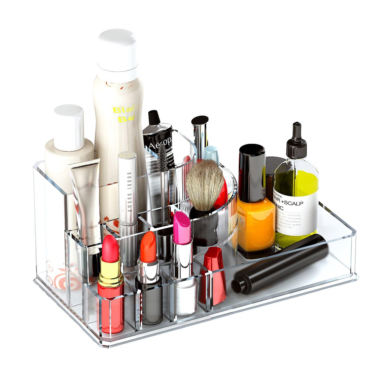 Lipstick Holder Acrylic Makeup Organizer Cosmetic Display Tray Lipstick Lip Gloss Nail Polish Eyeliner Eyebrow Pencil Makeup Brush Storage Case, Clear