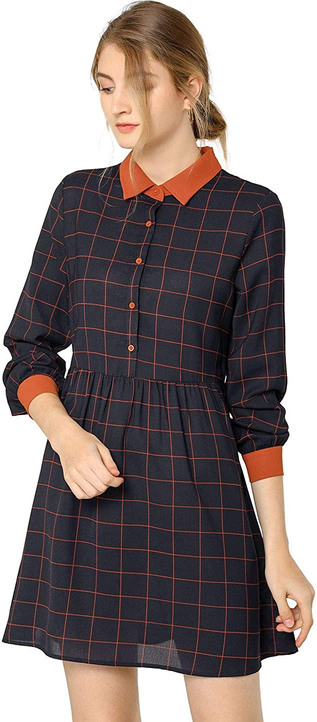 Allegra K Womens Plaid Long Sleeve Half Placket Contrast Point Collar Shirt Dress