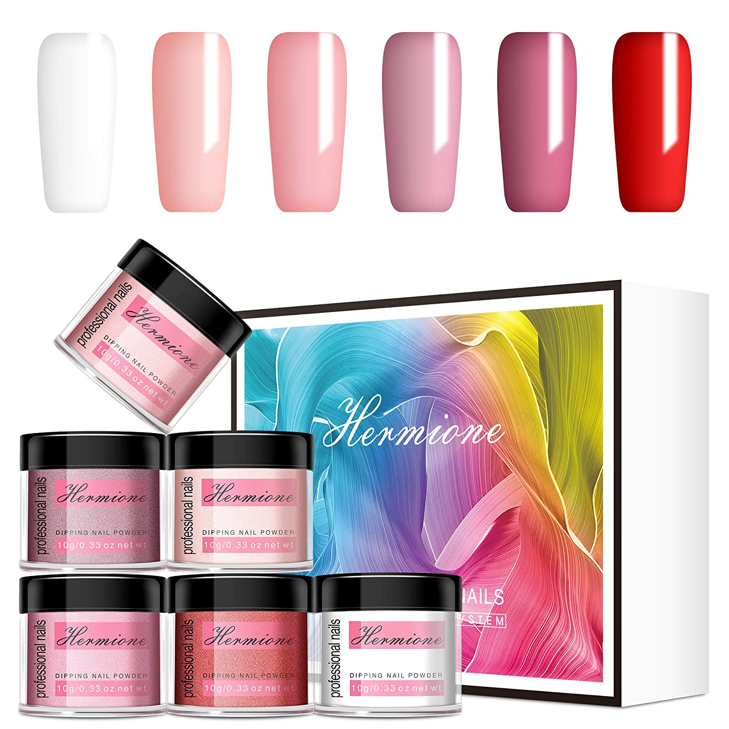 Nail Dip Powder with 6 Colors - Hermione Dipping Powder - Easy to Use, No Need Nail Lamp of French Manicure Set