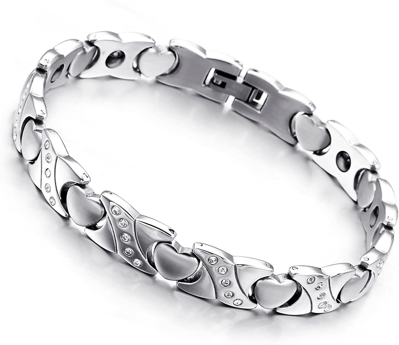 "Cupimatch Womens Stainless Steel Magnetic Bracelet Heart Link Wrist Bangle Gift, 8.3"""