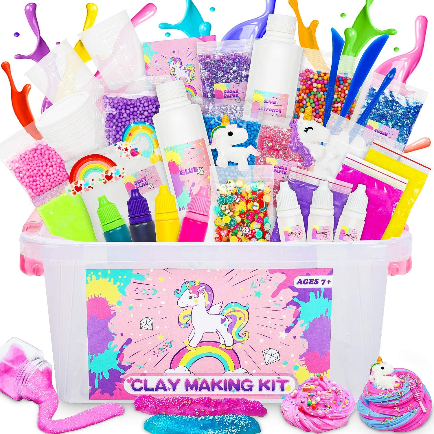 lenbest Slime Kit, Unicorn Slime Kit for Girls Boys with All Slime Supplies and Slime Manul in One Box to Make Unicorn, Cloud, Butter, Sparkle, Glowing & Foam Slime, Best Slime Gift for Kids