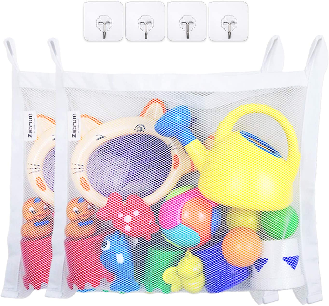 zebrum Bath Toy Organizer Set, 2 Large Strong Storage Mesh Bags, 18 x 14 Inch with 4 Strong Adhesive Hooks- Easy Storage of Bath Toys and Other Bathroom Items-White (Bath Toy Organizer Set)