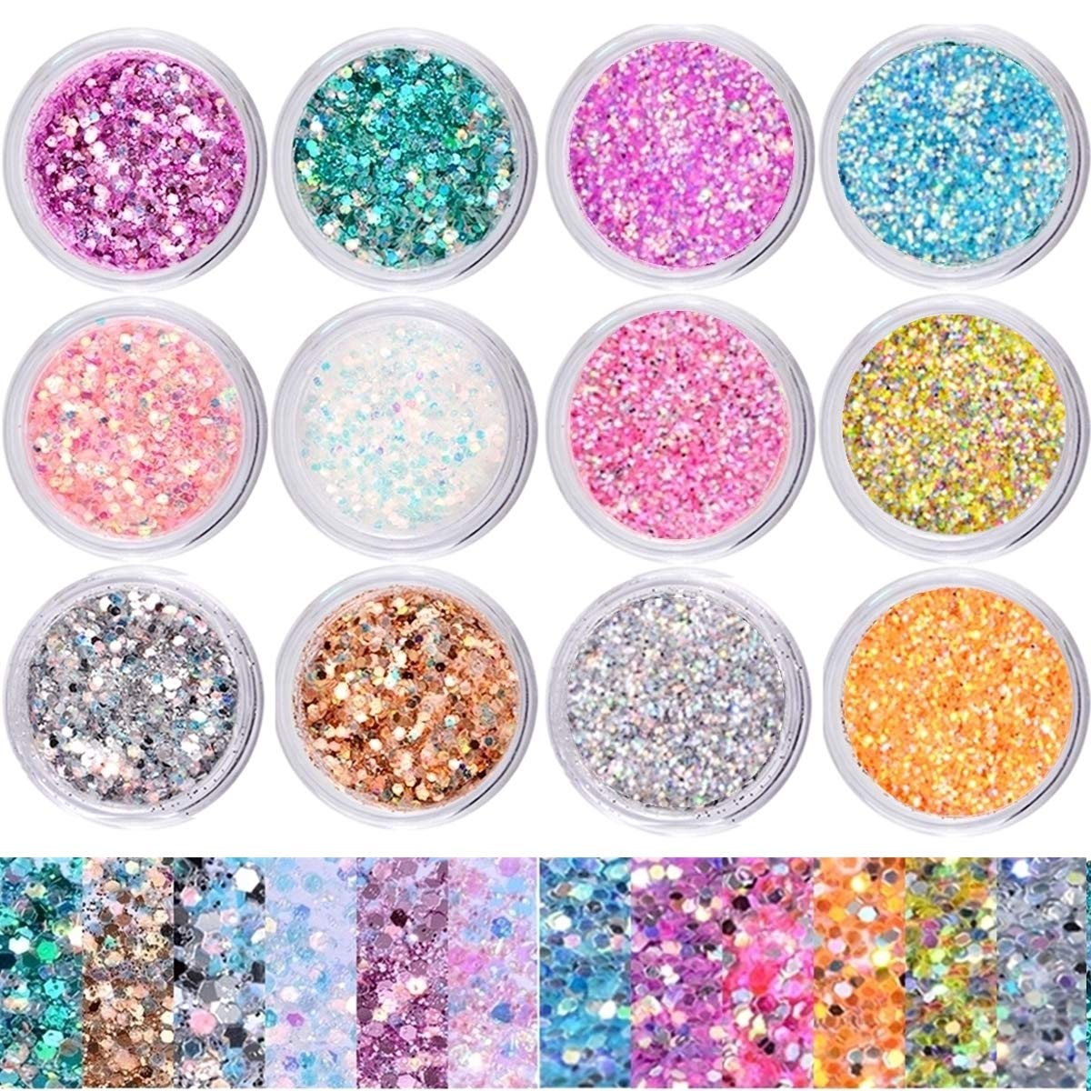 Umillars 12 Boxes Nail Art Mermaid Iridescent Flakes Glitter Sequins Colorful Holographic Laser Glitter Powder Festival Cosmetic Face Hair Body Art Glitter