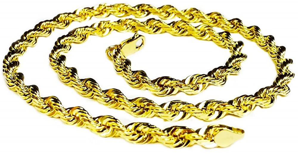 18KT Solid yellow gold Diamond Cut Rope Chain Necklace 22