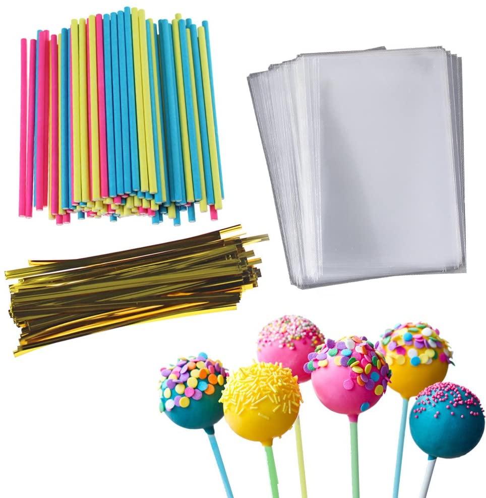 Cake Pop Treat Bag Set, 100 PCS Colorful Lollipop Sticks, 100 PCS Lollipop Parcel Bags with 100 PCS Metallic Twist Ties