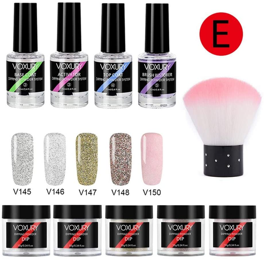Dipping Powder Nail Kit with 5 Colors White Glitter,Dip Powder System Starter Nail Kit Dipping System, French Nail Manicure Nail Art Set Essential Kit,Portable Kit for Travel