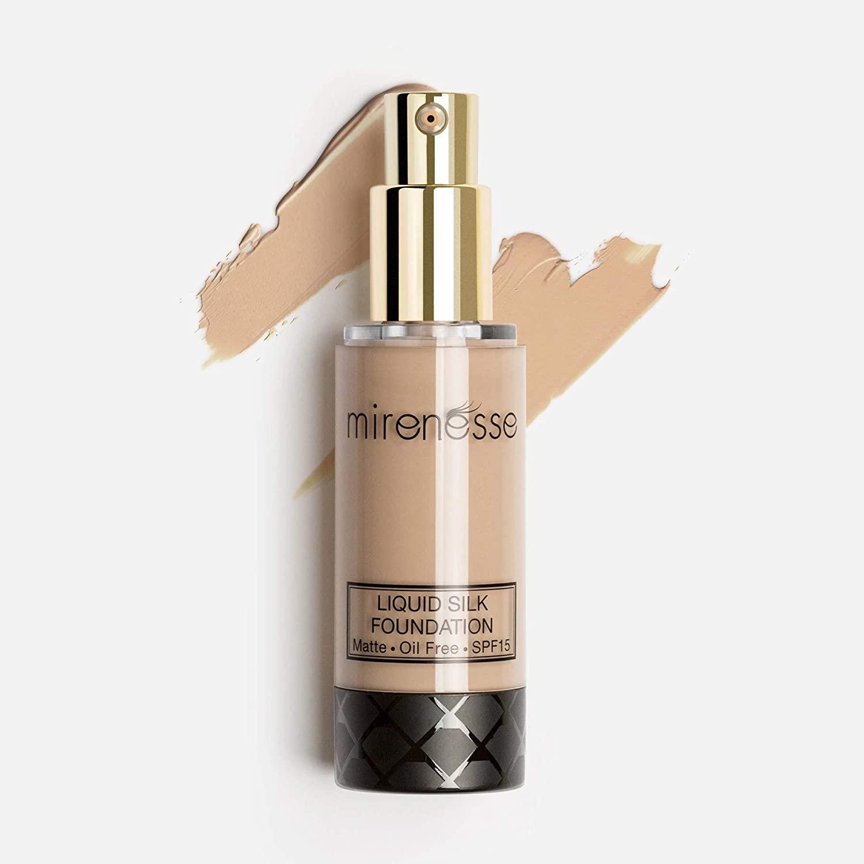 Mirenesse Skin Clone Liquid Silk Foundation SPF 15, Mineral Powder with Natural Matte Finish, Oil Free & Long Lasting High Coverage, Minimizes Pores, Vegan & Toxin Free, 23 Mocha 1.2oz