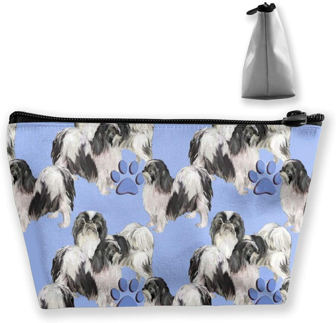 O-X_X-O Lightweight Waterproof Multi-Purpose Trapezoidal Storage Pouch Clutch Travel Makeup Bag Cosmetic Bag Toiletry Bag Organizer Pouch Purse - Japanese Chins Pet Dog