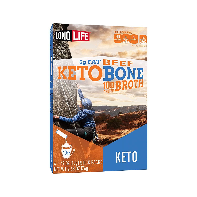 LonoLife Keto Beef Bone Broth Powder, 5g fat, 10g Protein, Paleo and Keto friendly, Stick Packs 4 Count