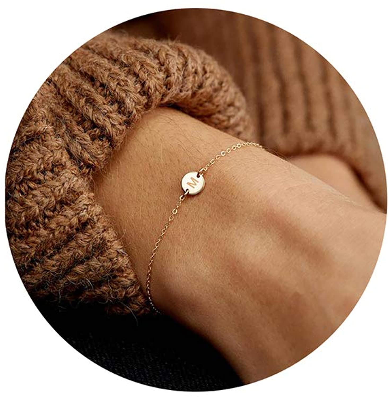Glimmerst Personalized Initial Bracelet, 18K Gold Plated Stainless Steel Letter Bracelet Dainty Coin Charm Bracelet Delicate Disc Name Bracelet for Women Girls