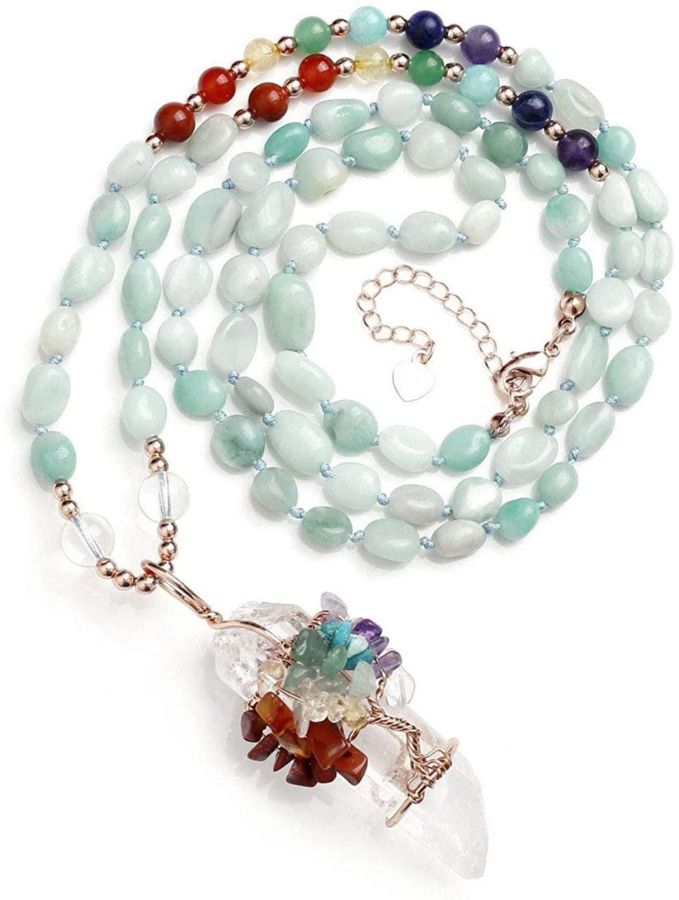 JOVIVI Natural Amethyst Rose Quartz Chakras Gemstone Healing Crystals Necklace Wire Wrapped Irregular Raw Clear Quartz Tree of Life Pendant Healing Pointed Reiki Energy Balancing