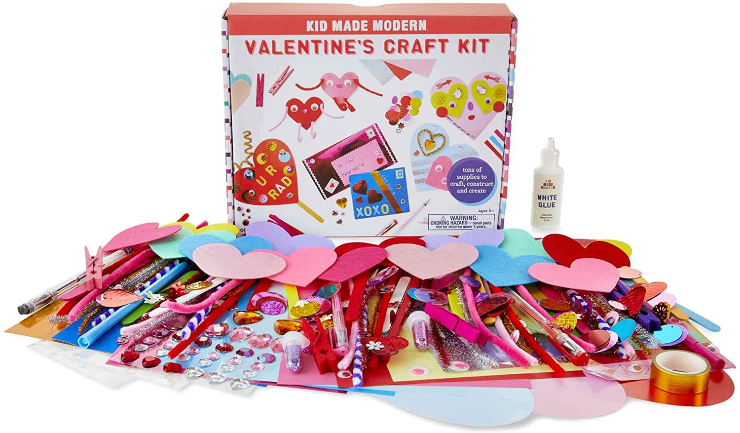 Kid Made Modern Valentine's Craft Kit - Sweet Art Supplies for Your Little Valentine, Ages 6 and up