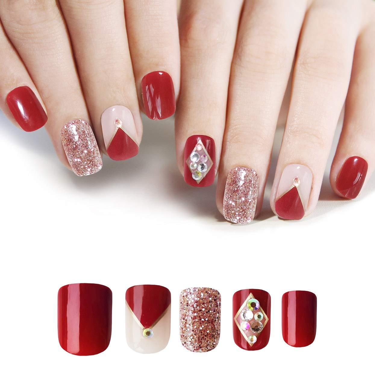 Doreliss False Nails Press On Nails 30 Pcs 3D Bling Glitter Rhinestone with nail tapes Red