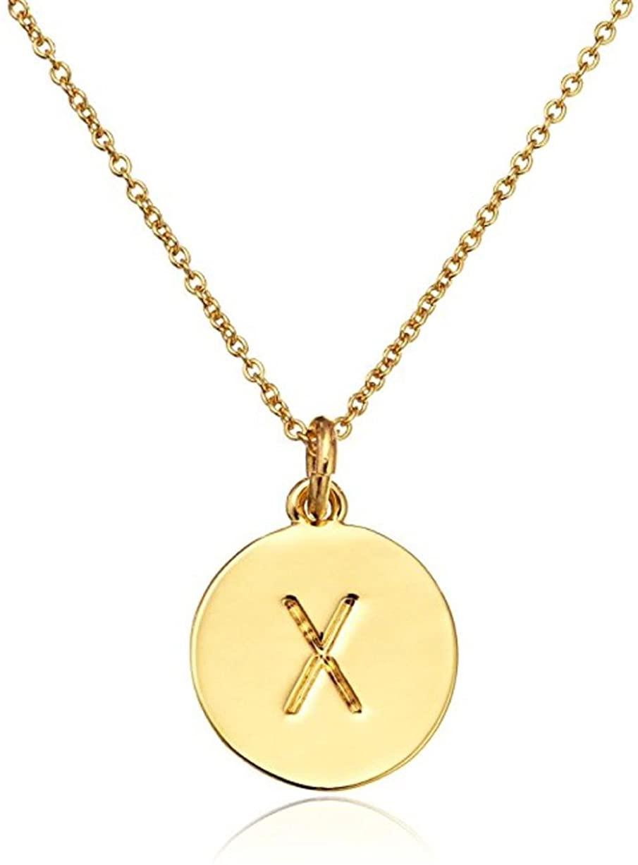 Gold Plated 925 Sterling Silver 12mm Disc Letter Pendant Necklace Personalized Hypoallergenic Initial Heart Engraved Jewelry Women Girls Birthday Gift