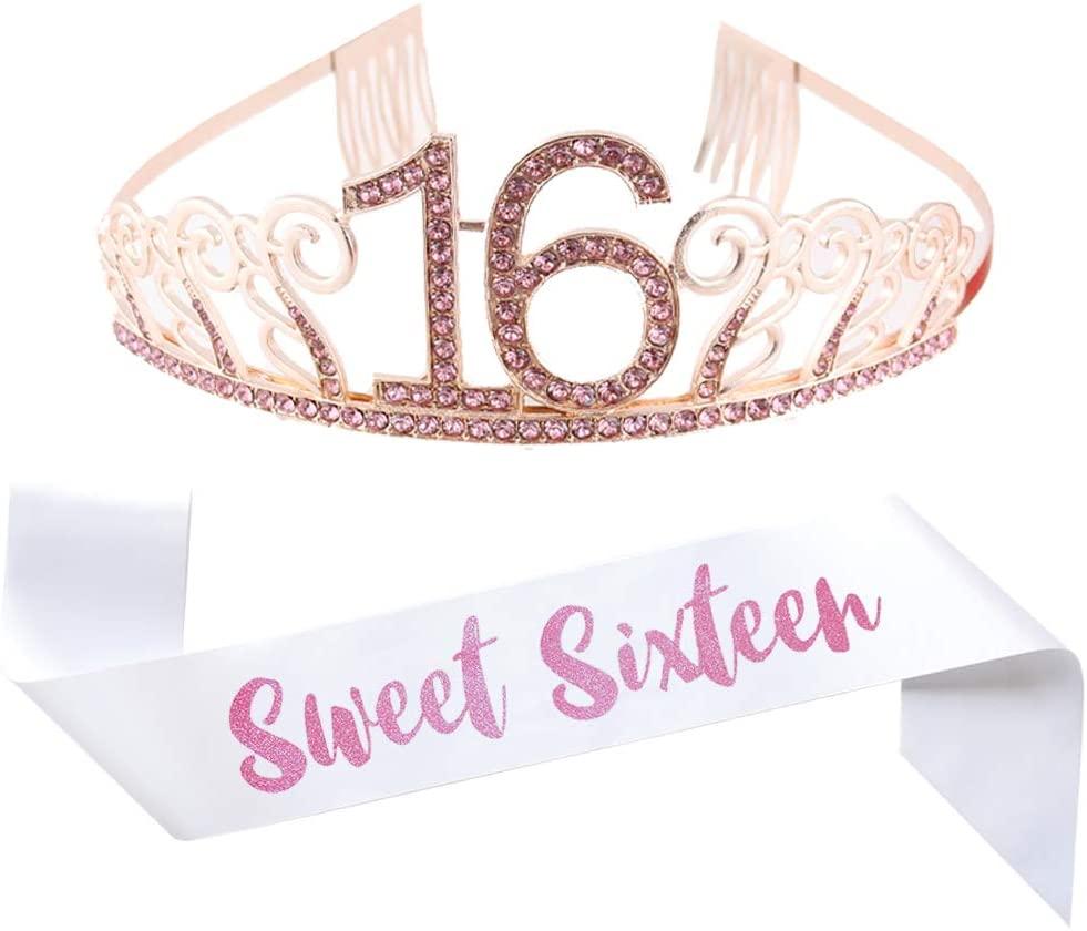 16th Birthday Pink Tiara and Sash, Glitter Satin Sash